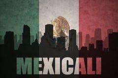 城市的抽象剪影有文本的墨西卡利在葡萄酒墨西哥国旗 免版税库存照片