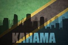 城市的抽象剪影有文本的Kahama在葡萄酒坦桑尼亚旗子 库存图片