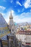 城市的看法从圣斯蒂芬` s大教堂观察台的在维也纳,奥地利 图库摄影