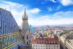 城市的看法从圣斯蒂芬` s大教堂观察台的在维也纳,奥地利 库存照片
