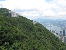 城市的看法从维多利亚峰顶,香港的 免版税库存图片