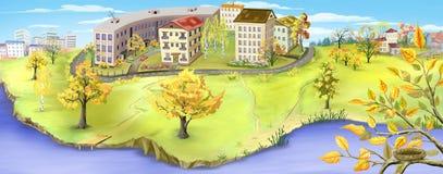 城市的看法在秋天初的 库存图片