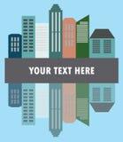 城市的看法平的样式的,传染媒介例证 免版税库存图片