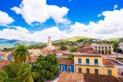 城市的看法,特立尼达,圣斯皮里图斯市,古巴 文本的Ð ¡ opy空间 顶视图 库存照片