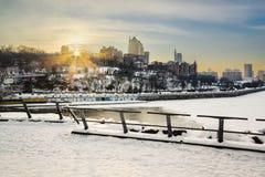 城市的美丽的景色日落的我 免版税库存照片