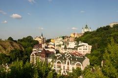 城市的老部分的看法 库存图片