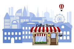 城市的背景的咖啡馆 与一个气球的都市风景在白色背景 向量例证