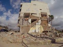 城市的崩溃从地震厄瓜多尔,南美的 免版税库存图片