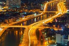 城市的Saigon全景在晚上 免版税库存照片
