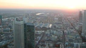 城市看法从上面日落的 法兰克福德国主要 影视素材