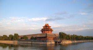 城市禁止的护城河塔楼 库存照片