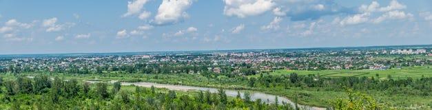 城市科洛梅亚,乌克兰的全景 库存图片