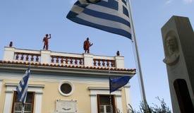 城市管理希腊的老大厦 免版税库存照片