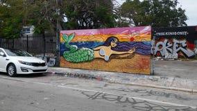 城市美人鱼壁画 库存照片