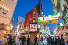 城市美好的全景微明的在上野地区东京 免版税图库摄影