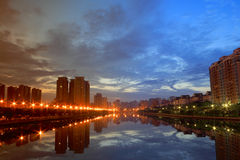 城市美好的黎明  免版税库存照片