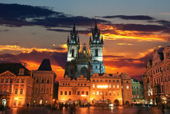 城市老布拉格方形城镇 免版税库存照片