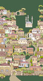 城市老街道 手拉的概略房子和树 Orien