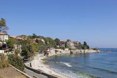 保加利亚。 城市老Nessebar和海看法  免版税图库摄影