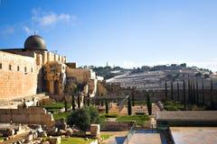 城市耶路撒冷全景 免版税库存图片