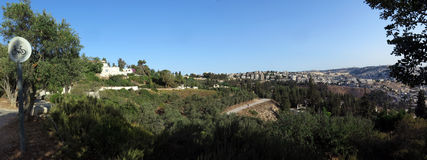 城市耶路撒冷老全景 免版税库存照片