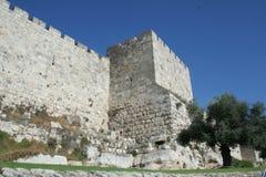 城市耶路撒冷老墙壁 库存照片