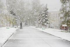 城市胡同和下雪 库存照片
