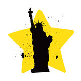 城市自由newyork雕象日落 免版税图库摄影