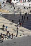 城市自行车活动在利昂,法国 库存照片