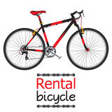 城市自行车聘用,游人的出租自行车平的样式的 库存照片