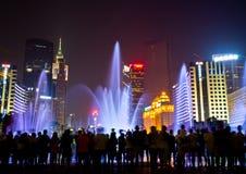城市花喷泉广州广场 库存照片