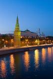 城市莫斯科晚上 免版税库存图片