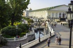 城市莫斯科,中央展览室 Manezhnaya广场莫斯科,俄罗斯 免版税库存图片