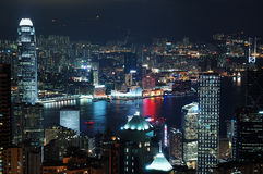 城市街市香港晚上场面 免版税库存图片