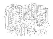 城市街道交叉点剪影 交通路视图 汽车末端大厦顶视图 手拉的传染媒介股票线 免版税图库摄影