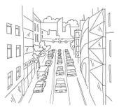 城市街道交通堵塞直线透视图剪影路视图 汽车末端大厦 手拉的传染媒介股票线 库存图片