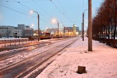 城市街道冬天晚上 免版税图库摄影