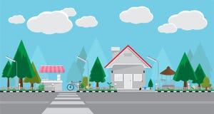 城市街道和商店,平的样式设计 免版税库存图片