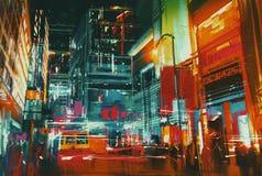 城市街道在与五颜六色的光的晚上 免版税库存图片
