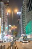 城市街道在夜下点燃查寻在downtow的纳丹路 库存照片