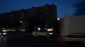 城市街道在晚上,莫斯科 股票录像