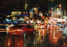 城市街道在晚上 库存图片