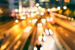 城市街道夜汽车光轨道 免版税库存图片