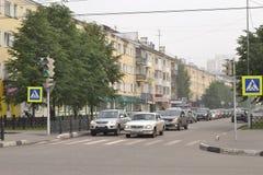 城市街道有薄雾的早晨 21次争斗大白俄罗斯社论招待节日图象授以爵位中世纪国家俄国小组乌克兰与 免版税库存图片