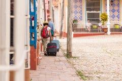城市街道的看法,特立尼达,圣斯皮里图斯市,古巴 复制文本的空间 库存图片