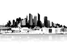 城市被反射的向量水 皇族释放例证