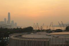 城市视图日落在香港 库存图片