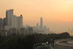 城市视图日落在香港 免版税库存图片