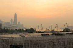 城市视图日落在香港 库存照片