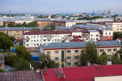 城市视图,老屋顶 库存照片
